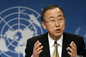 UN Secretary General Ban Ki-moon and UN Arab envoy to Syria Brahimi hold joint press conference in Switzerland